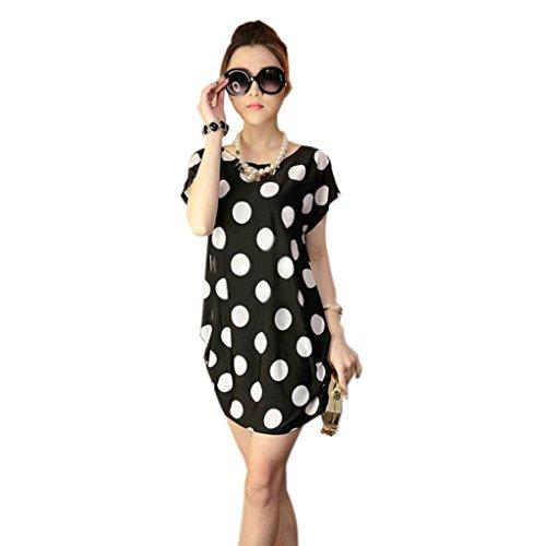 Rcool O-Ausschnitt kurze Ärmel locker bedruckten Kleid T Mini Shirt Bluse für Frauen Damen (Schwarz) (Damen Leder-tülle)
