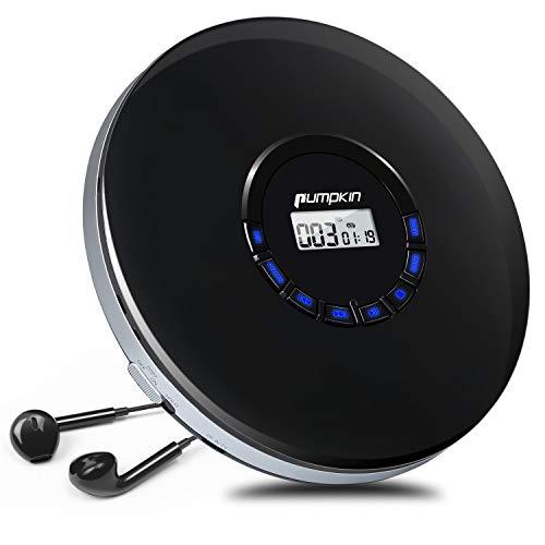 PUMPKIN Lettore CD Portatile Ricaricabile Con Cuffie 12 Ore di durata SUPPORTA CD, MP3, CD-R, CD-RW, AUX, EXTRA BASSO, AUDIOLIBRI