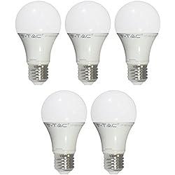 5-juego de V-TAC 4209 E27 LED del bulbo de la lámpara de 10 W con diámetro de 60 x 108, 806 lm sustituye a bombillas de 60 W 200 200200 haz de luz, luz blanca cálida VT-1853