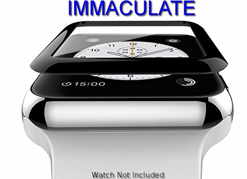 IMMACULATE™ Apple Watch (Series 3/2/1 Compatible) Tempered Glass Screen Protector 3D Curved Edge 9H Hardness for Apple Watch - Black (38MM)