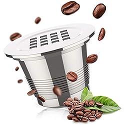 HOMEWINS 2 en 1 Capsule de Café Rechargeable Presse-moutures Capsule Nespresso Réutilisable Filtre à Café Recyclé en Acier Inoxydable avec Cuillère Compatible pour Machine Nespresso *Garantie 10 Ans*