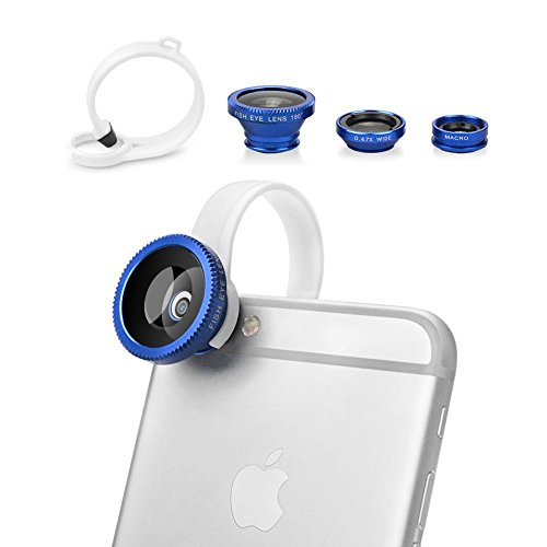 Butefo 3-in-1Kamera-Linsenset, Fisheye-Objektiv, 0,67x Weitwinkelobjektiv, Makroobjektiv, für iPhone 6/iPhone 6Plus/iPhone 5/5S/5C/Samsung Galaxy S5/S4/S3/Note 3/Note 2/HTC One M8/M7/LG G3/G2und andere Handys