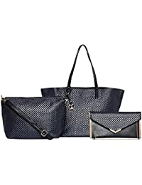 Diana Korr Women's Handbag With Sling (Blue) (Set Of 3) (DK124CBLU)