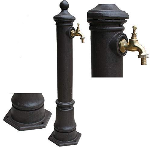 Moritz Wasserzapfstelle für Garten Wasserzapfsäule Antik-Stil Braun 80 cm Standbrunnen
