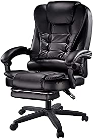 Yalla Office Ergonomic Office Massage Chair PU Leather with Wheels, Wide Headrest & Back Support, Adjustab