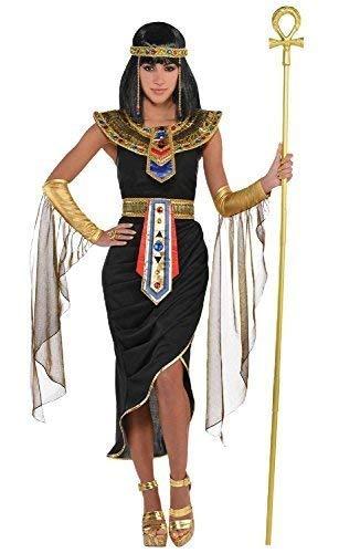 Fancy Me Damen 5 Teile Kleopatra Ägyptisch Queen Göttin Schwarz Gold Karneval International aus Aller Welt Historisch Kostüm Kleid Outfit UK 8-20 Übergröße - Schwarz/Gold, UK 10-12 (Kostüme Aus Aller Welt)