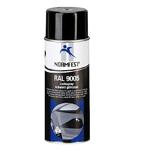 Normfest Lackspray Schwarz glänzend RAL 9005 Farbspray Spray 400ml inkl. Einweg-Handschuhe (1)