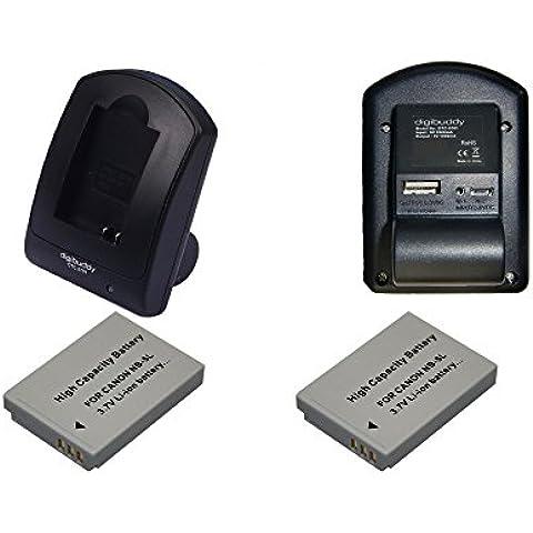 2x Batteria come Canon NB-5L + Caricabatterie 5701 con micro USB per Canon PowerShot: SD900 Digital ELPH / SD950 IS / SD990 IS / SX200 / SX200 IS