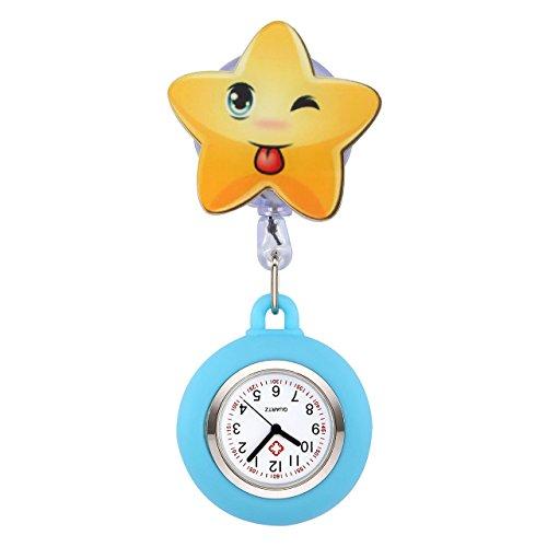 JSDDE Uhren Süß Schwesternuhren Stern Form Krankenschwesteruhr FOB-Uhr Silikon Hülle Pulsuhr Pflegeuhr Tunika Brosche Taschenuhr Ansteckuhr Analog Quarzuhr (Blau)