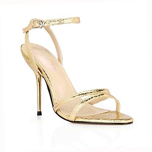 ZHZNVX Sandalen Frauen Sommer Neue Minimalistische Sexy interessant und Veranstaltungsräume mit Eisen Frau Schuhe, Gürtel und Schuhe, die Gitter Waren, 39, Gold Snakeskin (Eine Einfach - Frau-eisen)