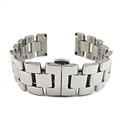 MapofBeauty Luxury Stainless Steel Bracelet Watch Band Strap Straight End Solid Links With Push-Button Hidden Clasp(Silver & 24mm)