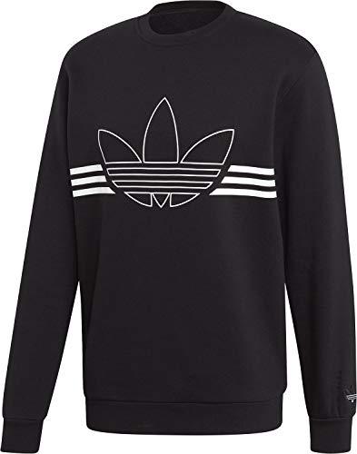 adidas Herren Outline Trefoil Crew Fleece Sweatshirts S schwarz - Fleece Crew Sweatshirt
