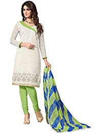 Regalia Ethnic Women's Cotton Dress Material (MFRE139_Free Size_White)