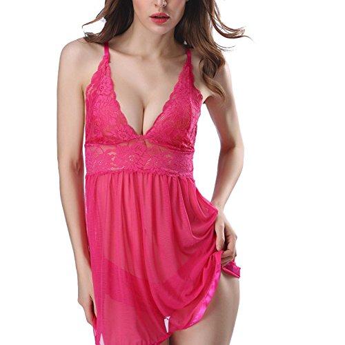 Damen Dessous,Binggong Mode Frauen Sexy Dessous Spitze Blumen Push-Up Top BH Nachtwäsche Erotik Unterwäsche Transparente Reizwäsche Dessous-Sets (Z-Hot Pink, XL)