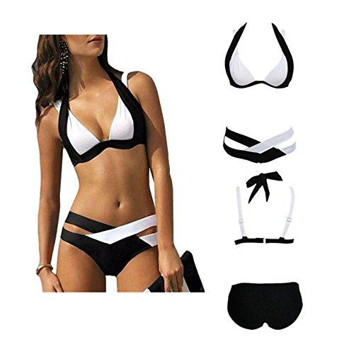 DAY.LIN Bikini Push Up Bademode Bikinis Damen Badeanzug Sexy Bademode Frau Schwimmen Strandkleidung Drucken Bandage Badeanzug (L=EUM) (Fechten Kostüm Schwarz)