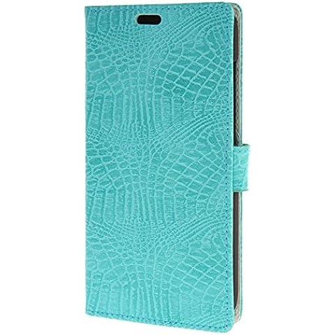 MOONCASE per Huawei Ascend G8 Case modello del serpente Leather Custodia in pelle Flip Case Protettiva Portafoglio Cover Azzurro 04