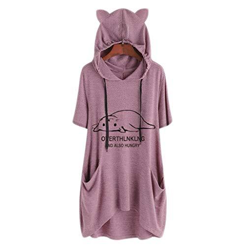 TOPKEAL Jacke Mantel Damen Frauen Casual Print Katze Ohr Kapuzen Kurzärmelige Tasche Unregelmäßige Top Bluse Shirt Herbst Winter Sweatshirt Kapuzenjacke Hoodie Pullover Coats (Pink C, XL)