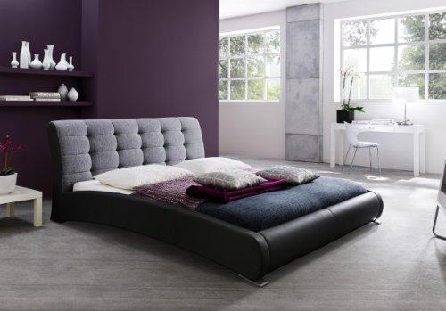 Dreams4Home Polsterbett mit Kunstlederbezug 'Avanti', 160×200 o. 180×200 cm, Schwarz/Grau, Liegefläche:160×200 cm