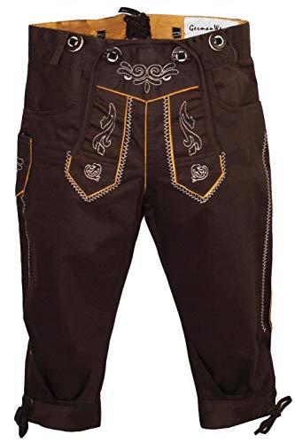 German Wear Jungen Kniebundhosen Kinder Hose Jeans Hose kostüme mit Hosenträgern, Farbe:Dunkelbraun, Größe:140