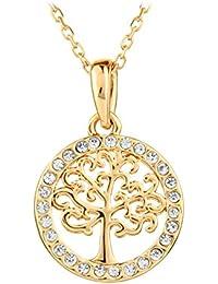 Le Premium® Collier pendentif 'Arbre de la vie' avec cristaux de haute qualité - plaqué or rose