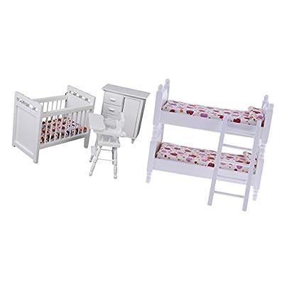Homyl Escala 1/12 Miniatura Muebles Litera Cuna Gabinete y Asiento de Bebé Decoración de Casa de Muñeca
