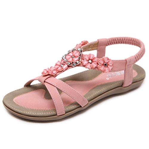 Mädchen Schuhe Flache (Sandalen Damen Sommer Strand Schuhe Flach Bohemia Zehentrenner Sandaletten mit Strass Blumen Größe 38)