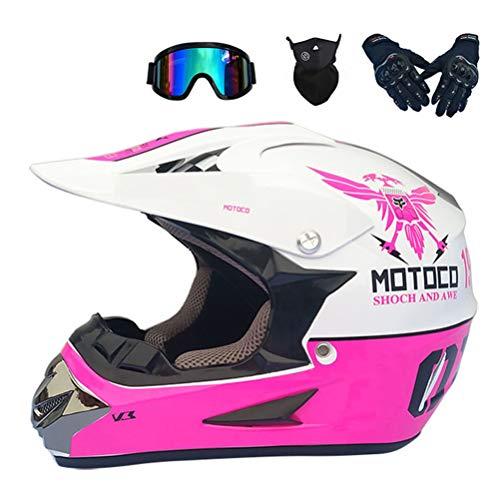 MRDEAR Motocross Helm Damen mit Brille Handschuhe Maske, Weiß und Pink, Motorrad Crosshelm Kinder Erwachsener Off Road Helm Motorradhelm Kit für MTB Enduro ATV Downhill Sicherheit Schutz,S