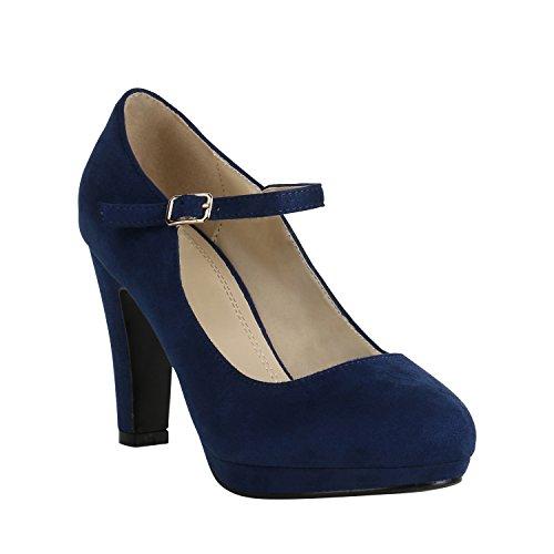 Damen Schuhe Plateau Pumps Lack Spangenpumps High Heels Blockabsatz 157226 Dunkelblau Brito 39 ()