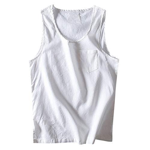 Zolimx Herren Baggy Baumwolle Leinen Solid Pocket ärmellose O-Neck Weste Tank Tops Blusen - Elastic Neck Top