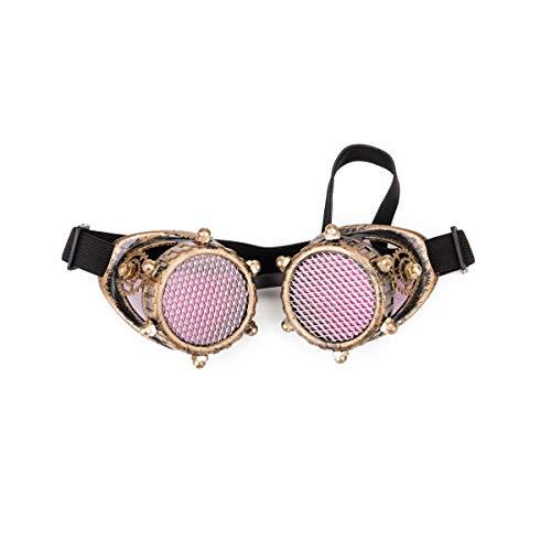 AFUT Steampunk Schutzbrillen rote Linse Brille retro Goldrahmen Rollenspiel