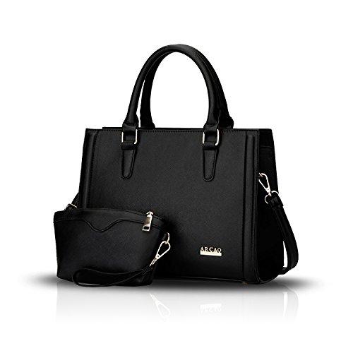 Sunas Sacchetto del messaggero + raccoglitore della spalla del sacchetto delle donne di due parti del braccialetto delle nuove donne della borsa nero