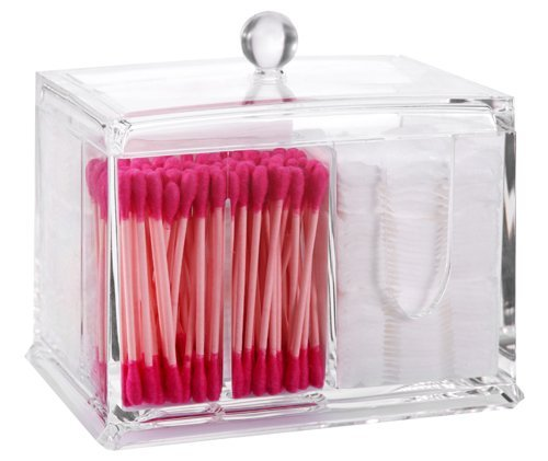 PuTwo Wattepads Halter Makeup Organizer Kosmetika Makeup Wattestäbchen Halter Wattestäbchen Spender, 4 Sektionen