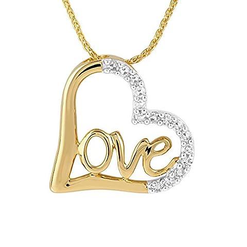 Diamond Line Damen - Halskette 585er Gold 15 Diamanten ca. 0,10 ct., gelbgold