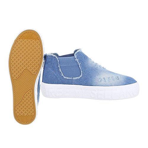 High-Top Sneaker Damenschuhe High-Top Sneakers Ital-Design Freizeitschuhe Hellblau AB-3