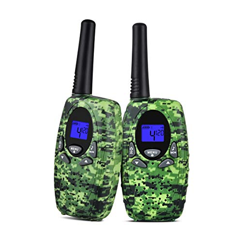 Upgrow 2X Walkie Talkies Kinder Funkgeräte Set 8 Kanäle 2-Wege Radio Walki Talki Funkhandy Interphone mit LCD Display, Kinder Speilzeug und Geschenk (Grün) Lcd-marine 2-wege-radio