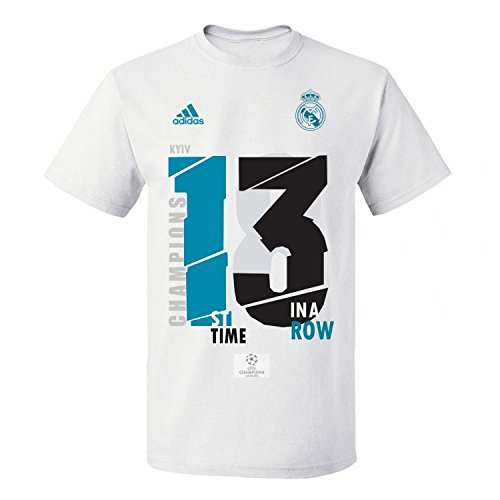 adidas Camiseta Real Madrid 13 Campeón UCL 18 White Talla M