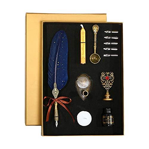 Kafen - Pennarello per Calligrafia, Penna stilografica con Inchiostro e 5 Penne, Confezione Regalo Navy