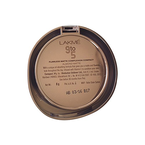 Lakme 9 to 5 Flawless Matte Complexion Compact, Almond, 8g