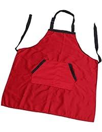 Almencla Cocinar Delantal De Cocina Para Mujer Hombre Chef Camarero Cafetería Barbacoa Peluquería - rojo