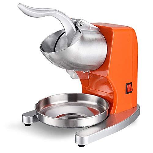 TYUIO Afeitadora eléctrica de Hielo 380W 1440r / min W/Hoja de Acero Inoxidable Máquina de Cocina de máquina de Hacer Hielo con Forma de Cono de Hielo raspado (Naranja)