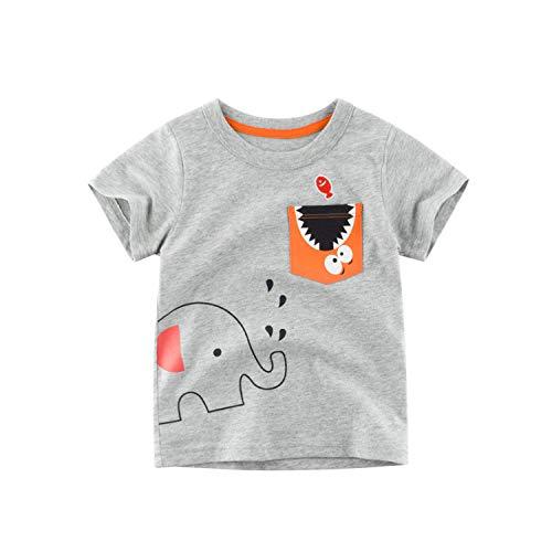 Et Noir Kostüm Chemise Noire - Kinderbekleidung Sommer Neue Kinder Baumwolle Kurzarm T-Shirt Sweatshirt Junge Blume grau 90cm