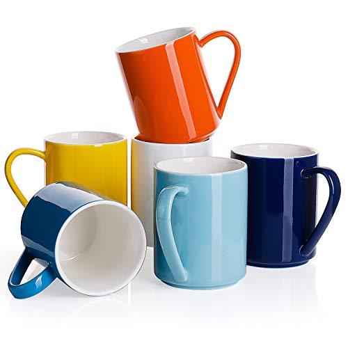 Sweese 603.002 6er Set Kaffeebecher aus Porzellan, 350ml, Tasse mit großem Henkel für Heißgetränke, Bunte Serie (Becher Bunt Kaffee Groß)