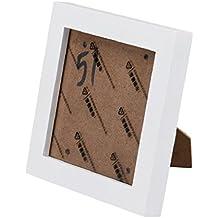 Marcos de fotos Sannysis Marco triple para foto marcos de madera 5x5 pulgadas (Blanco)