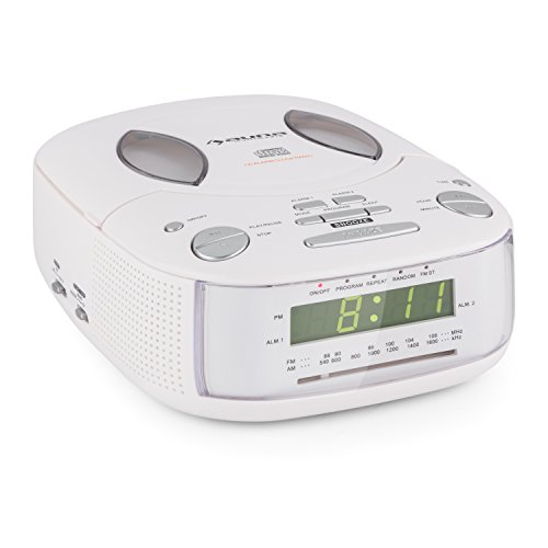 auna Dreamee • Radiowecker • CD-Player • Radio • Weckfunktion • Dual-Alarm • Sleep-Timer • Schlummerfunktion • UKW -Tuner • Uhrzeitanzeige • Stereo-Lautsprecher • Kopfhörerausgang • Weiß