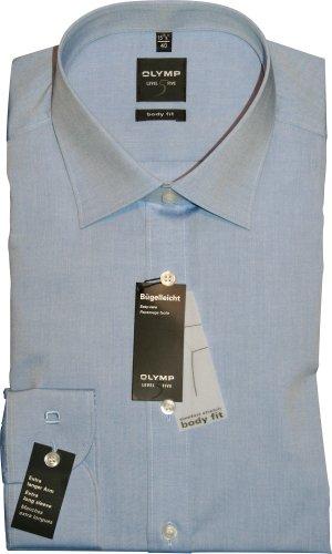 Olymp Hemd Level 5 Five New York Kentkragen in Extra langer Arm (69cm) Besonders bügelleicht, Blau (Blau), Gr. 40