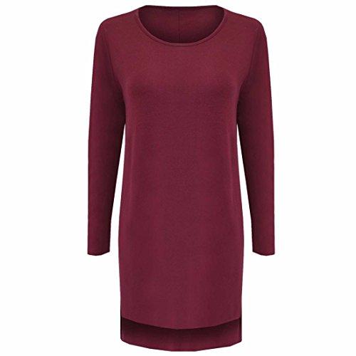 QIYUN.Z Femmes Solide Couleur Furcal T-shirt Melanges De Coton A Manches Longues Hauts Motif Vrac rouge wine