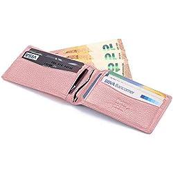 flintronic ® RFID Bloqueo Monedero de Cuero, Carpeta del Cuero,Billetera Cartera Slim Tarjeta de Crédito (#5 Rosa)