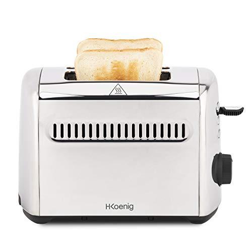 H.Koenig Grille Pain Toaster 2 Tranches TOS9 Fentes larges 40mm Inox vintage, 7 Niveaux brunissage, Décongélation, Rapide uniforme, Remontée extra-haute, Pain, muffin, bagel, Nettoyage facile, 950W
