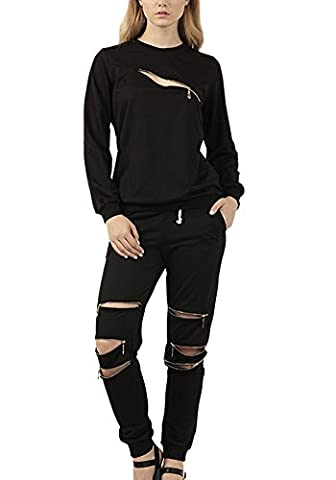 Minetom Women's 2PCS Autumn Casual Tracksuit Front Zip Long Sleeve