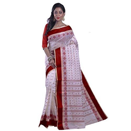 Avik Creations Women's Bengal Tant Tangile Handloom Cotton saree Red Border White